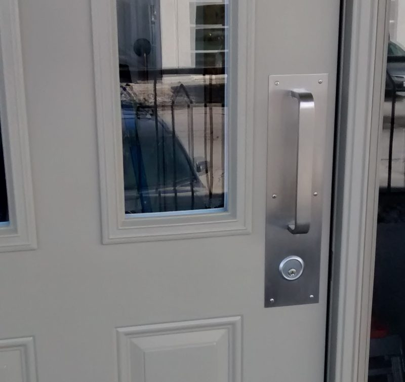 Installing Panic Device With Key Cylinder Pull Handle